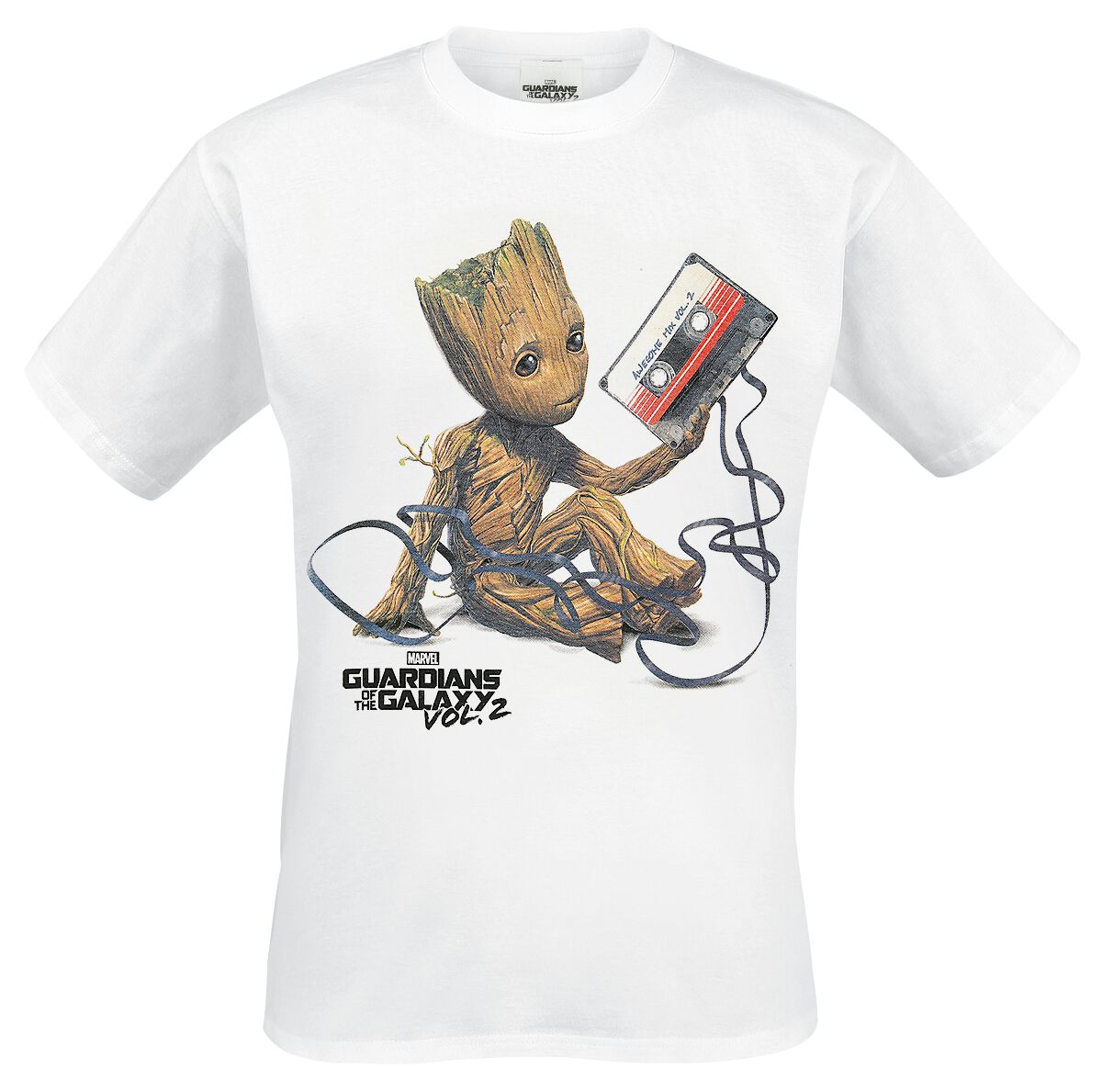 Image of   Guardians Of The Galaxy 2 - Groot & Tape T-Shirt hvid