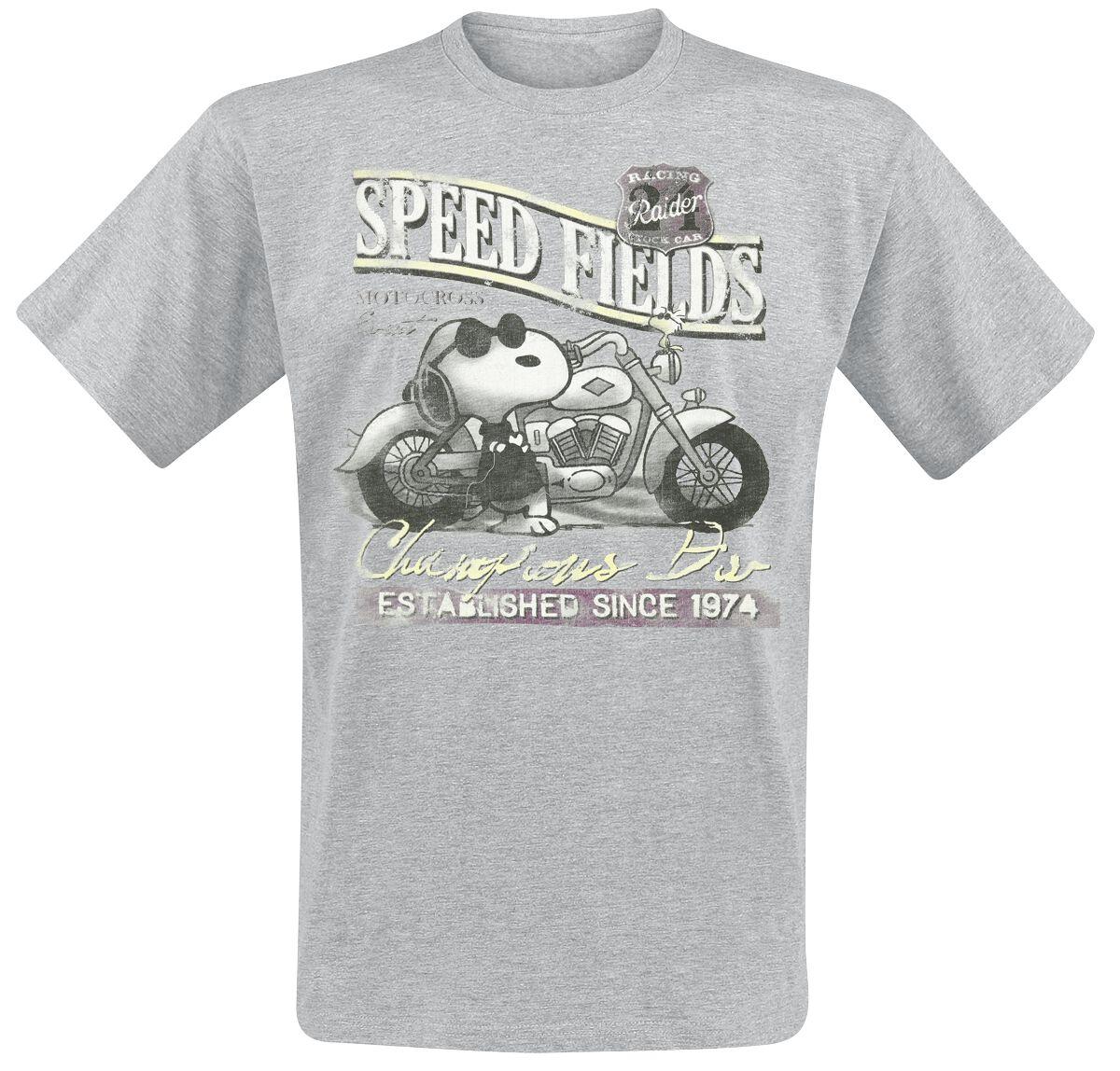 Merch dla Fanów - Koszulki - T-Shirt Fistaszki Snoopy Speed Fields T-Shirt odcienie szarego - 351345