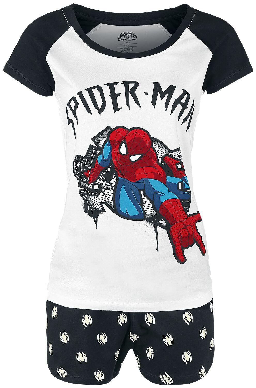 Image of   Spiderman Shoots Web Pyjamas hvid-sort