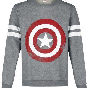 Captain America Logo Sweat-shirt gris chiné