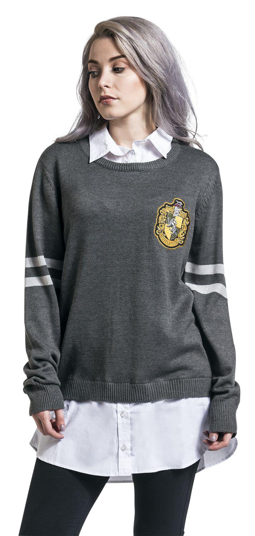 Merch dla Fanów - Bluzy - Bluza damska Harry Potter Hufflepuff Bluza damska szary/biały - 351722