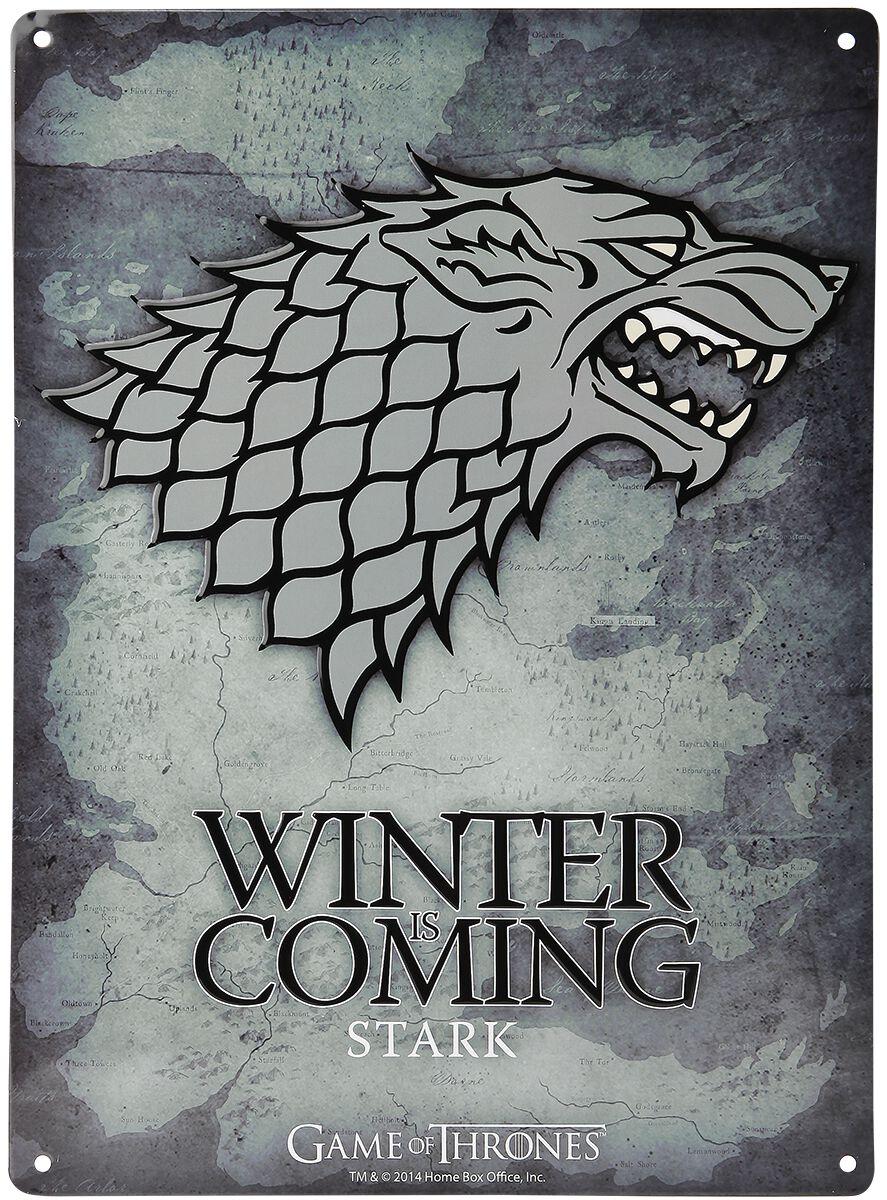 Image of   Game Of Thrones House Stark - Winter Is Coming Tinskilt multifarvet