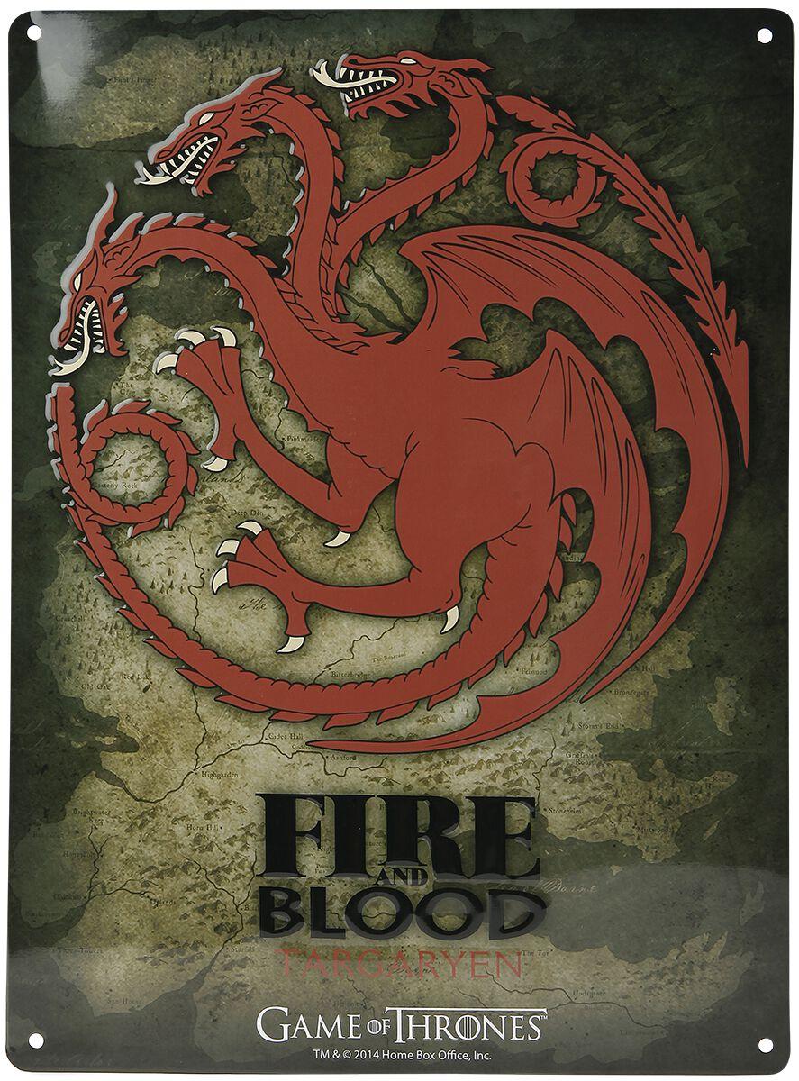 Image of   Game Of Thrones House Targaryen - Fire And Blood Tinskilt multifarvet