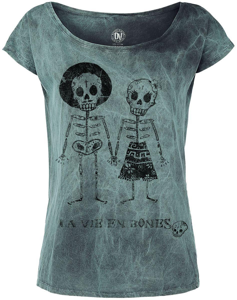 Image of   Outer Vision Skeleton Lovers Girlie trøje turkis