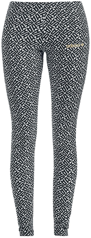 Image of   Adidas Allover Print Leggings Leggings sort-hvid