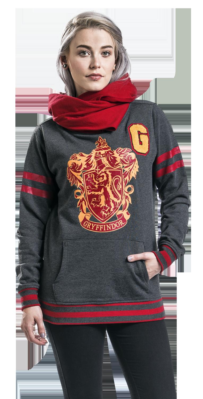 Harry Potter Gryffindor Shawl Bluza z kapturem damska odcienie szarego/czerwony
