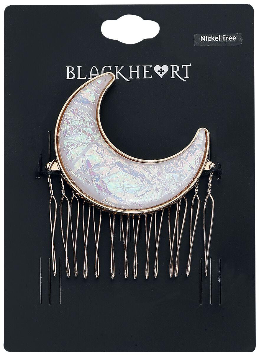 Image of   Blackheart Moon Hårspænde hvid-guld