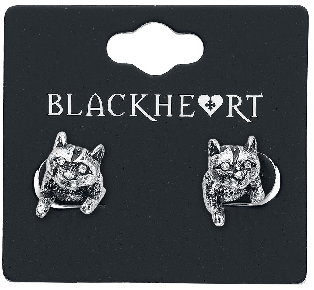 Image of   Blackheart Cat Ørestik sæt sølvfarvet