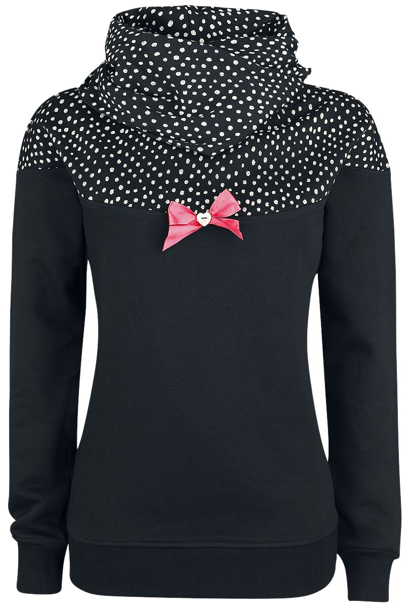 Image of   Pussy Deluxe Crumble Dotty Shawl Hoodie Girlie hættetrøje sort