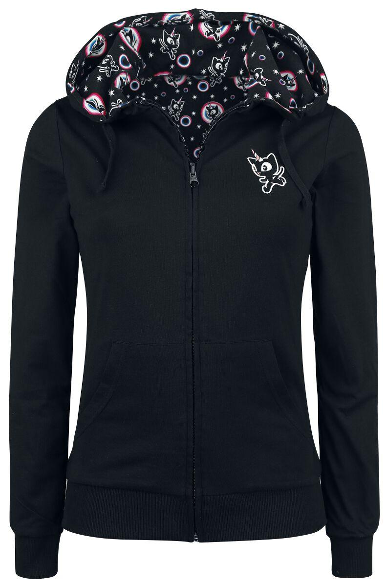 Marki - Bluzy z kapturem - Bluza z kapturem rozpinana damska Pussy Deluxe Unicorn Hooded Reverse Zip Jacket Bluza z kapturem rozpinana damska czarny - 352305