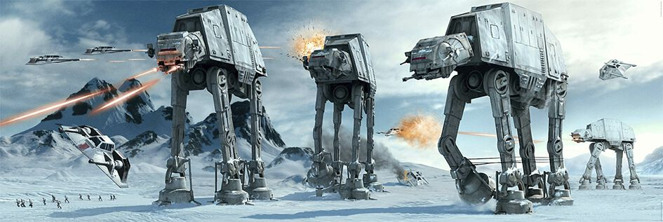 Image of   Star Wars AT-AT Fight Dørplakat multifarvet