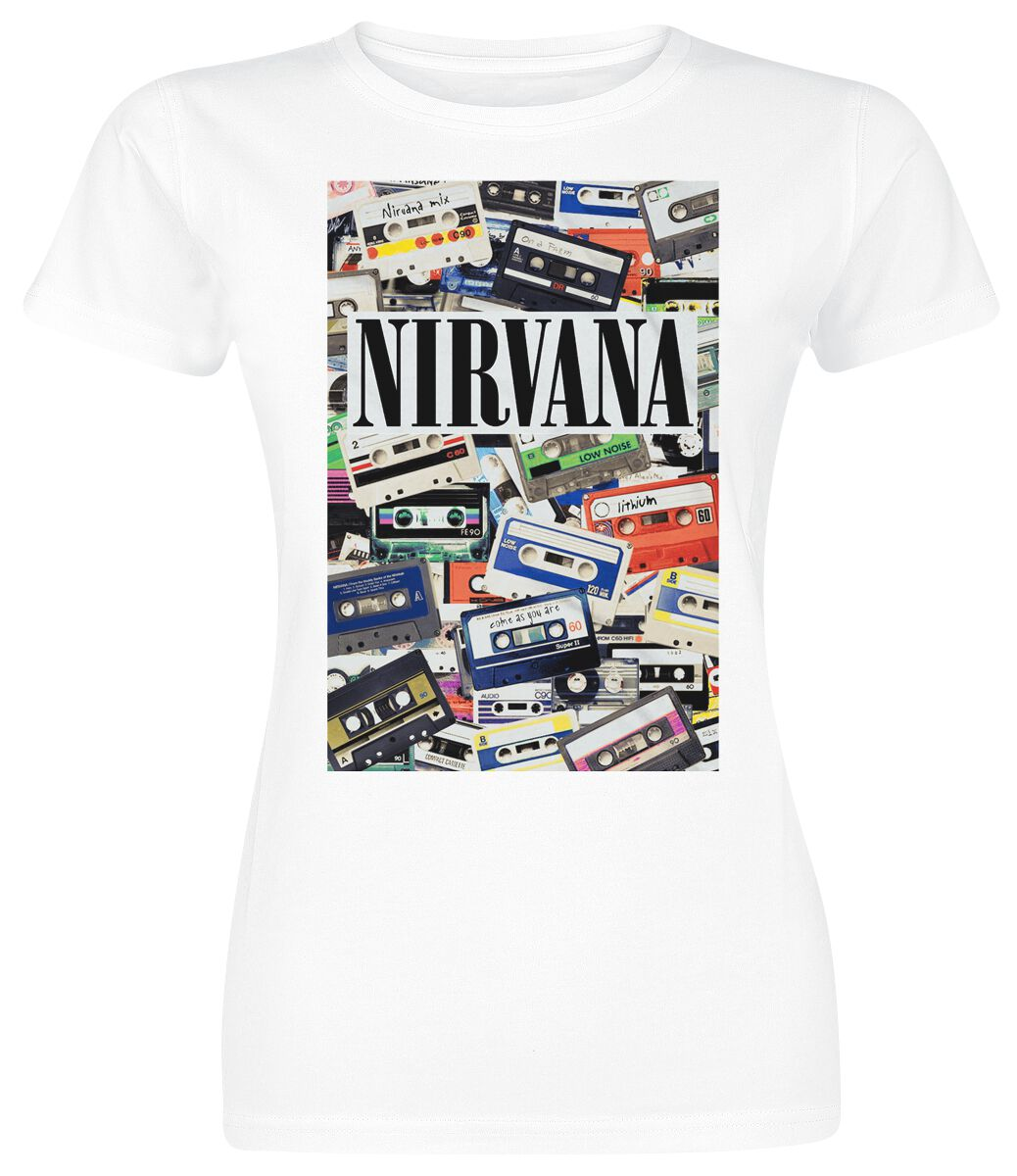 Zespoły - Koszulki - Koszulka damska Nirvana Cassettes Koszulka damska biały - 352468