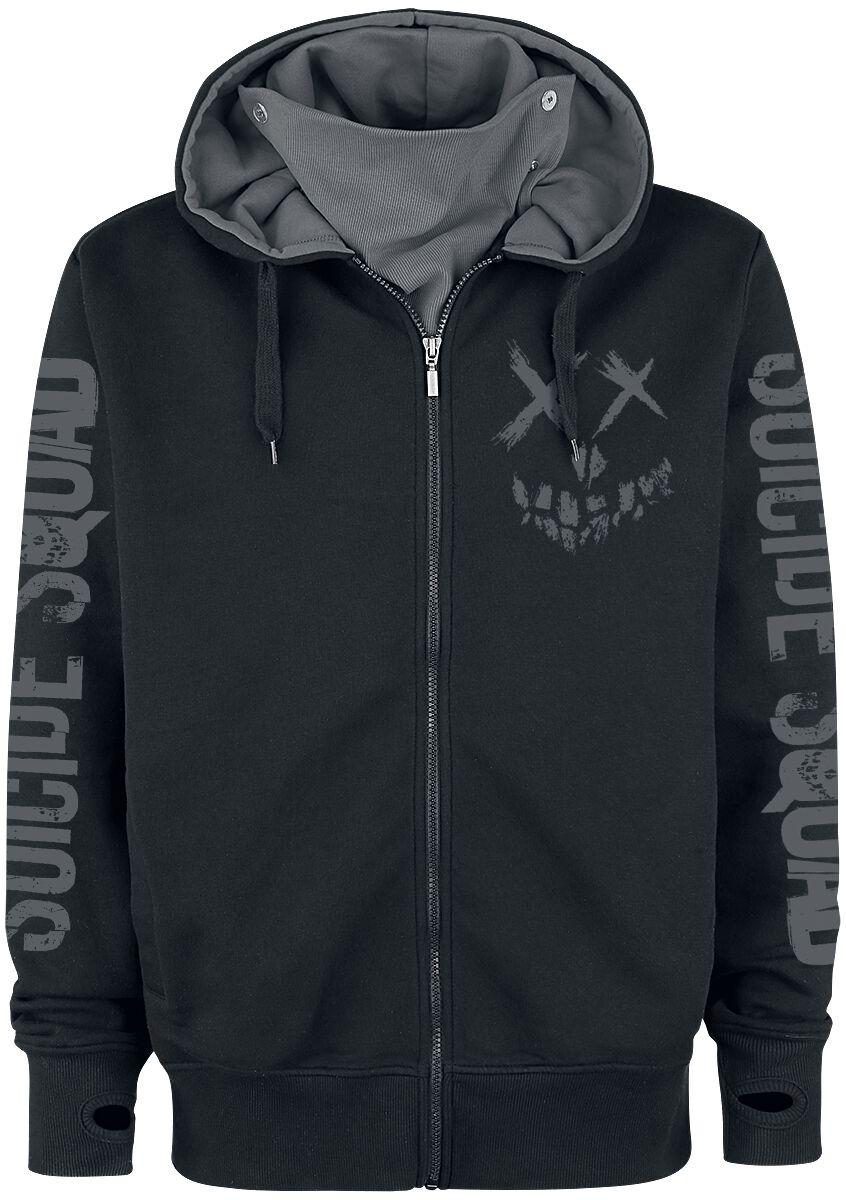 Merch dla Fanów - Bluzy z kapturem - Bluza z kapturem rozpinana Suicide Squad Joker - Skull Logo Bluza z kapturem rozpinana czarny - 352482