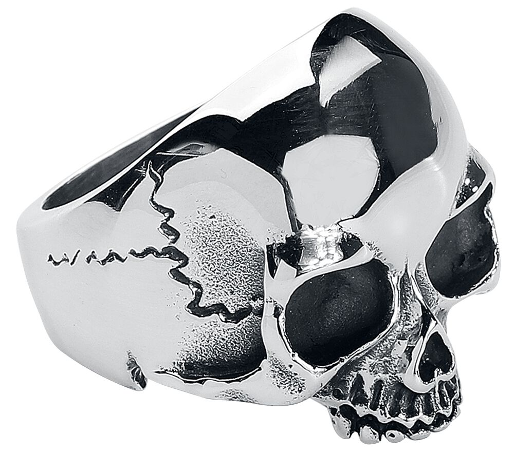 Image of   etNox hard and heavy Skull Head Ring sølvfarvet