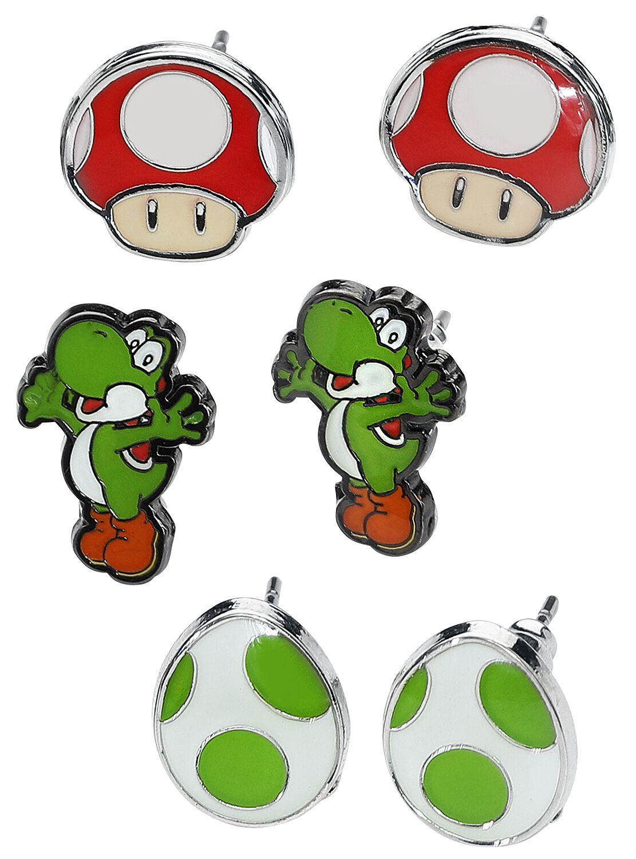 Image of   Super Mario Yoshi, Egg & Mushroom Ørestik sæt multifarvet