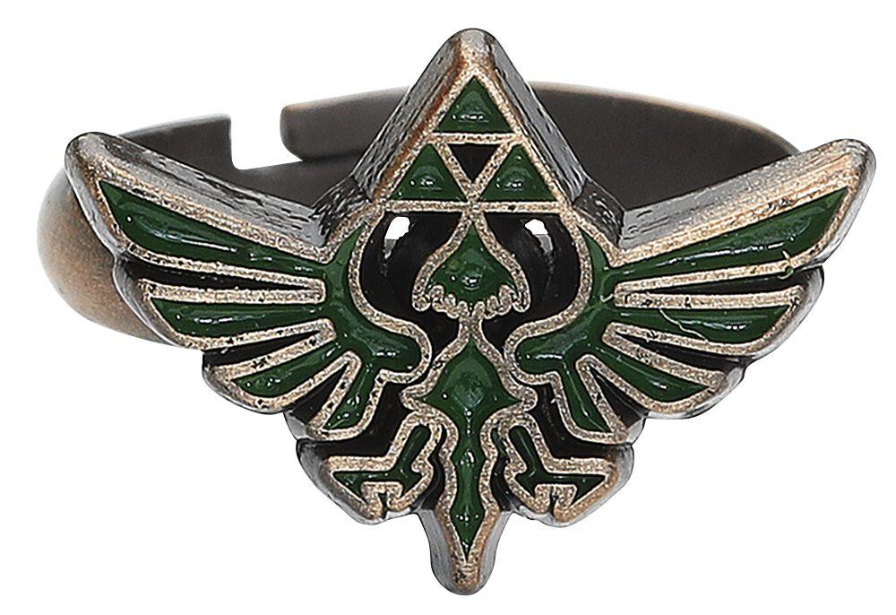 Image of   The Legend Of Zelda Triforce Logo Ring grøn-guld