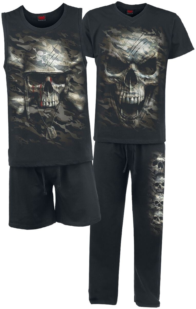 Image of   Spiral Camo Skull Pyjamas sort