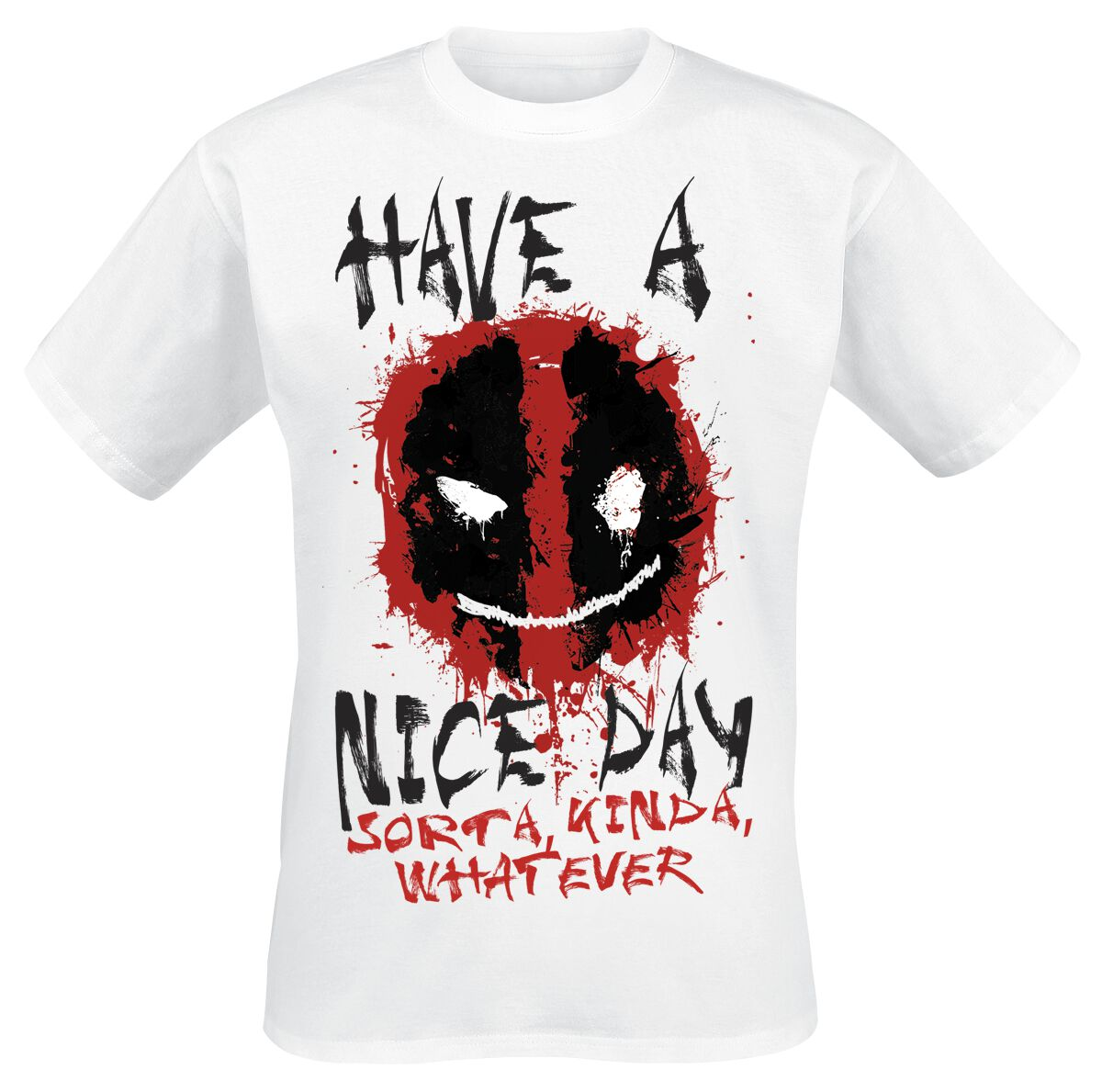 Image of   Deadpool Smiley T-Shirt hvid