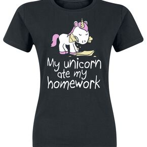 Unicorn My Unicorn Ate My Homework T-shirt Femme noir