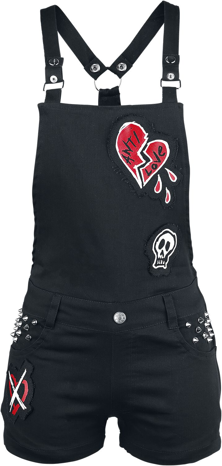 Heartless Anti Love Bib & Brace Jumpsuit schwarz