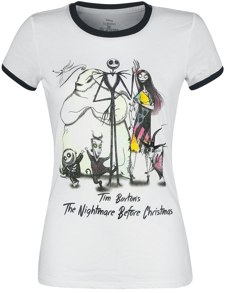 Image of   The Nightmare Before Christmas NBC Band Group Tour Girlie trøje sort-hvid