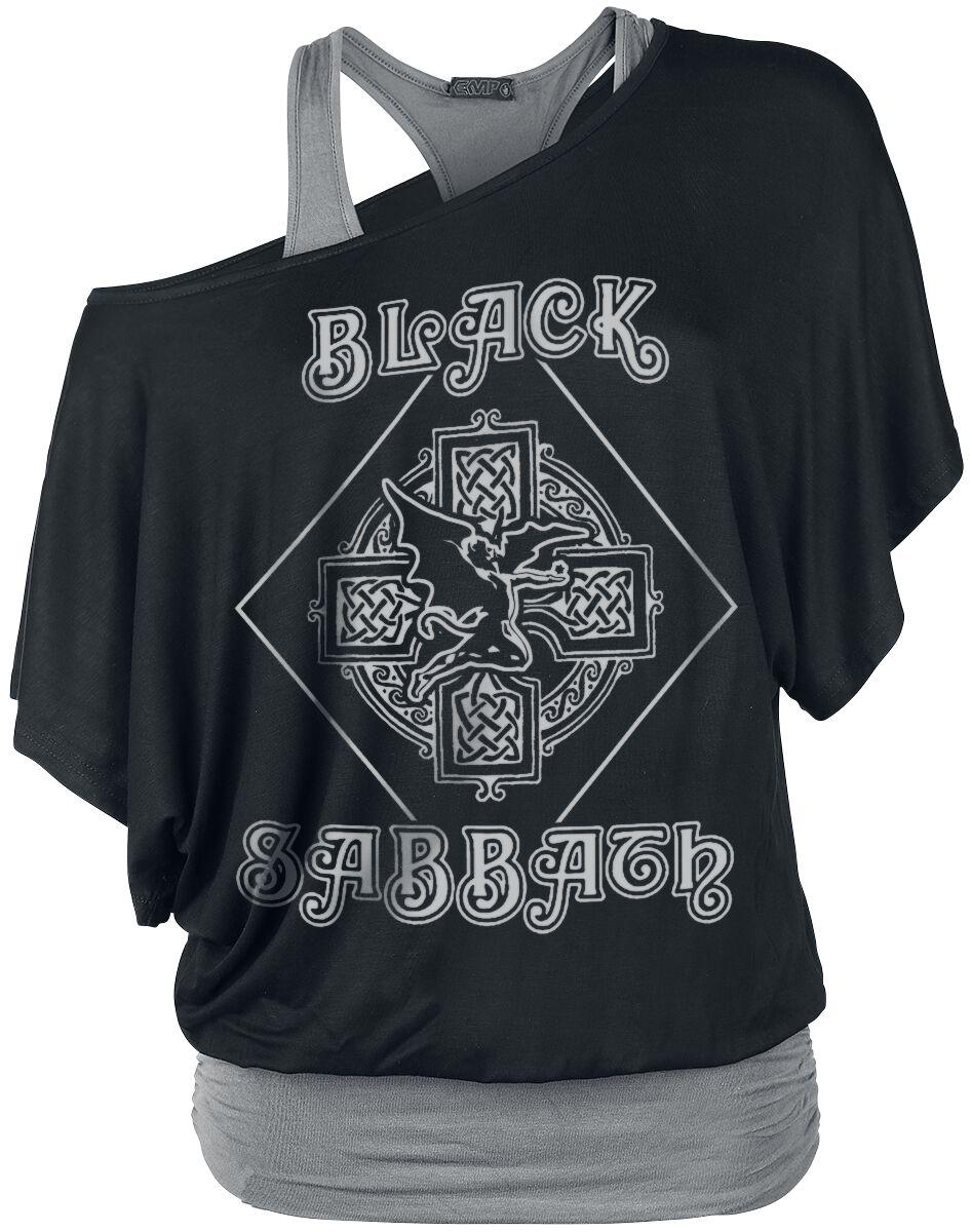 Image of   Black Sabbath Fallen Angel Logo Girlie trøje sort-grå