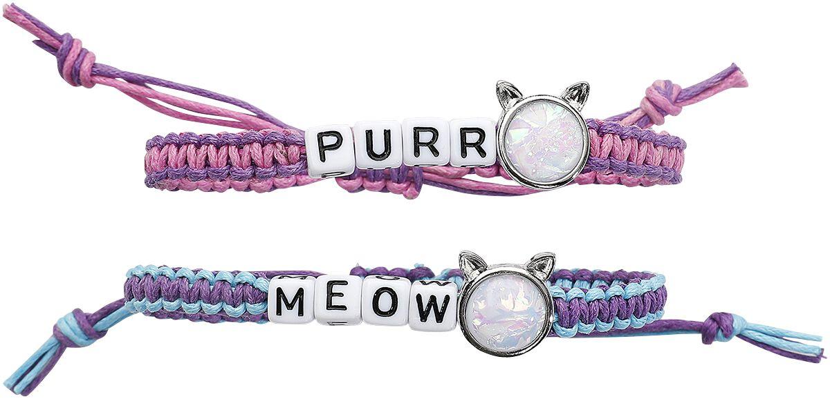 Image of   Blackheart Meow & Purr Armbånd, sæt multifarvet