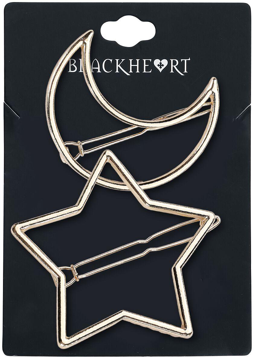 Image of   Blackheart Star & Moon Hårspænde guld