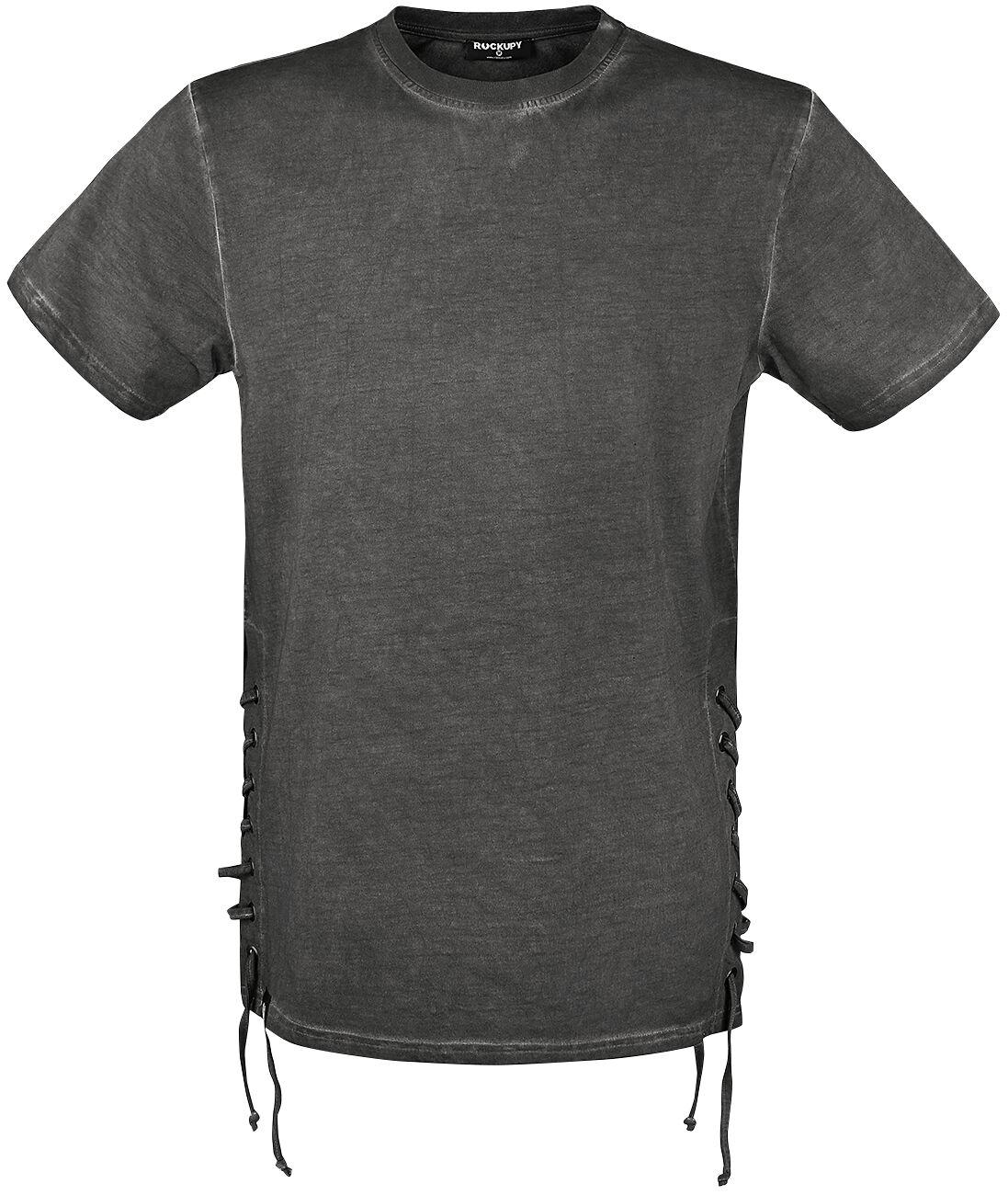 Marki - Koszulki - T-Shirt Rockupy Side Laced Oil Washed T-Shirt T-Shirt ciemnoszary (Anthracite) - 353764