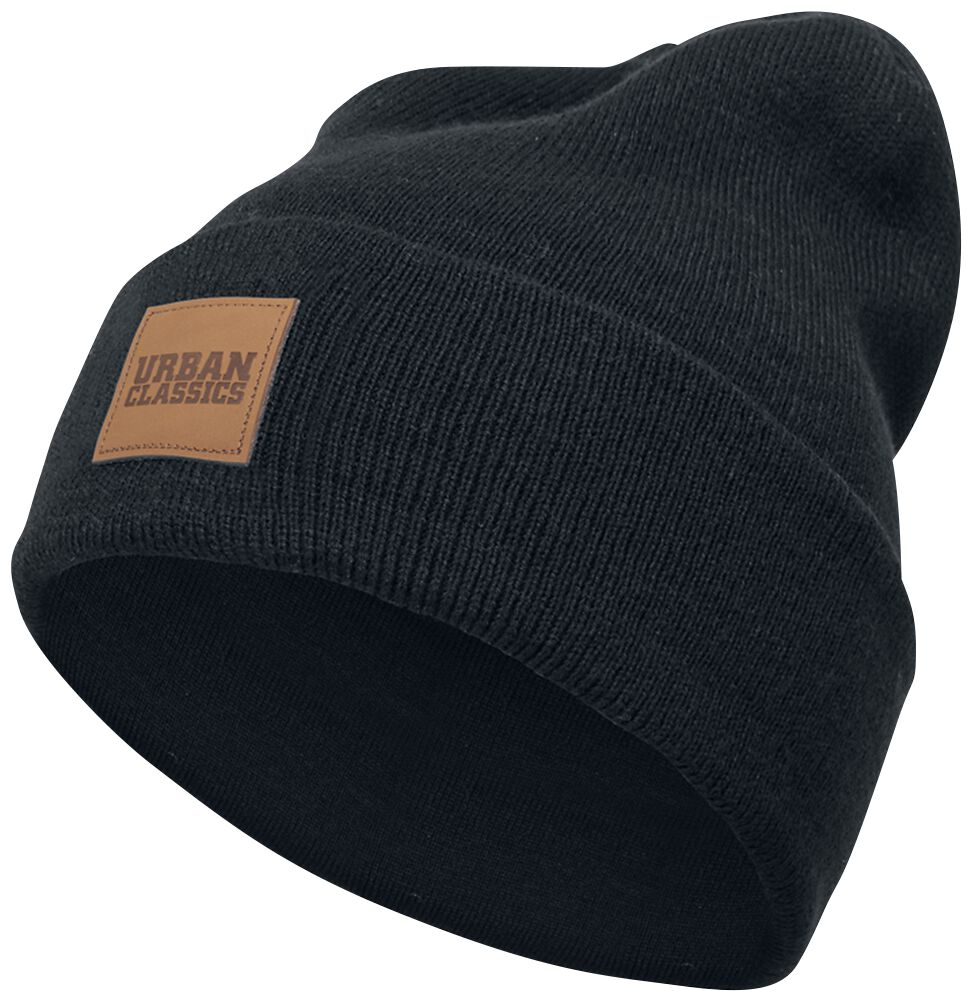 Image of   Urban Classics Leatherpatch Long Beanie Beanie sort