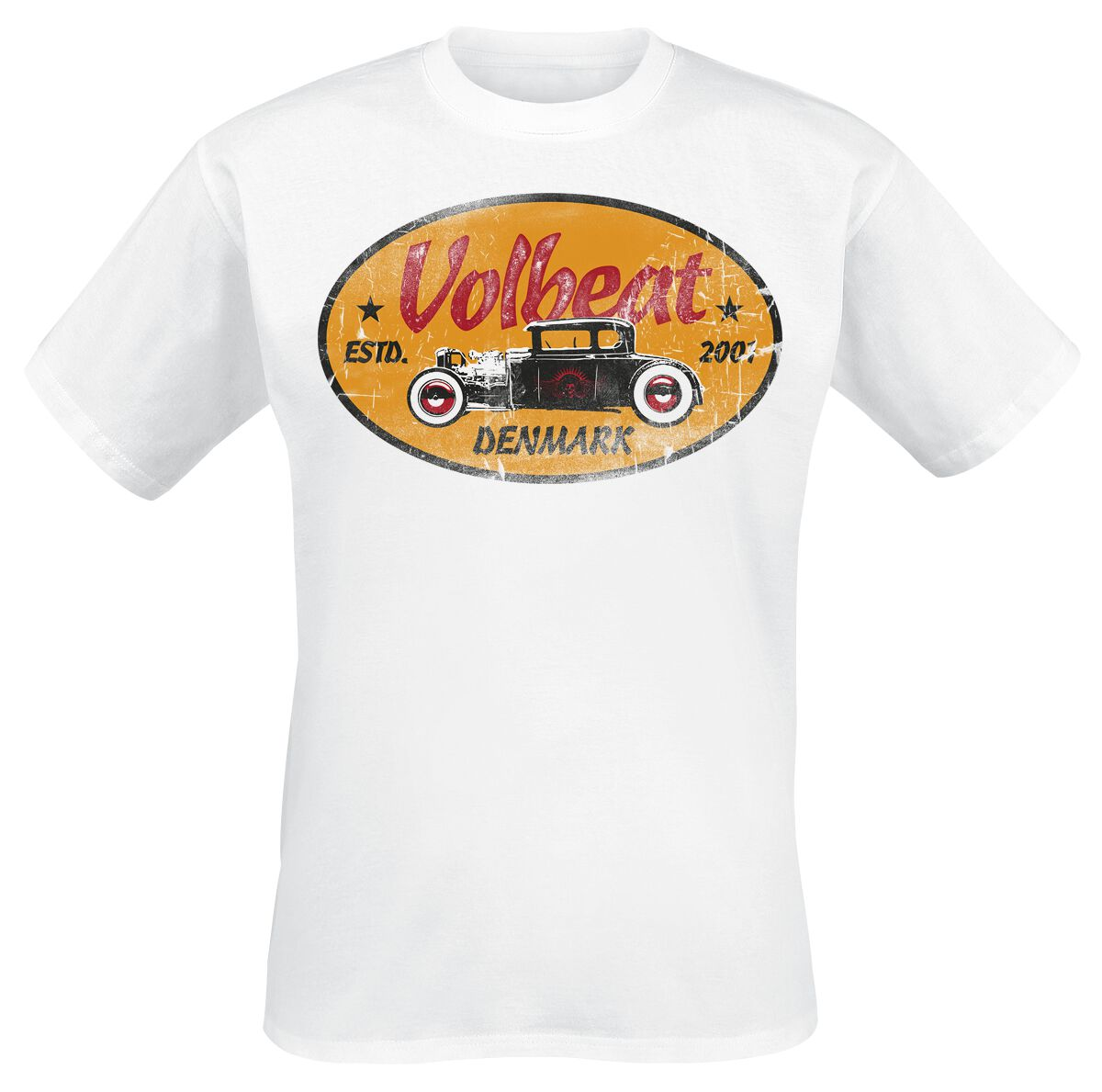 Image of   Volbeat Oval Car T-Shirt hvid