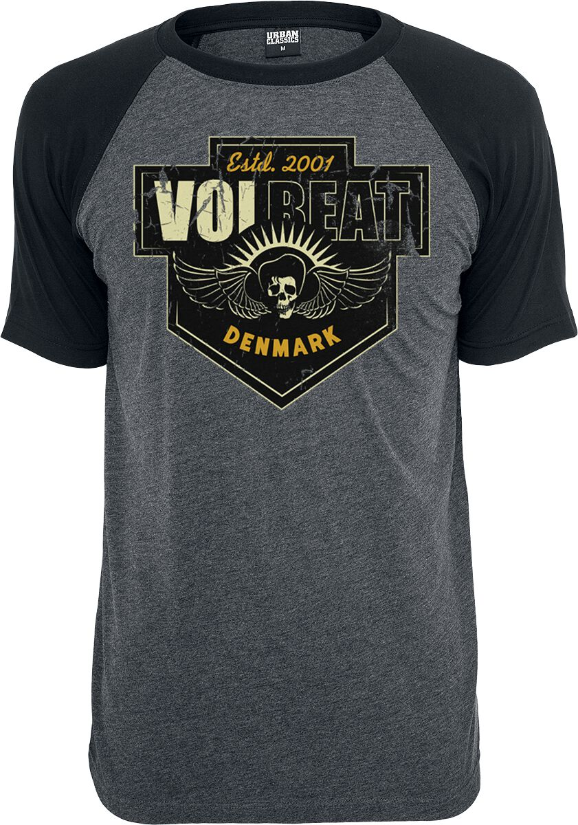Image of   Volbeat Cross T-Shirt blandet grå-sort