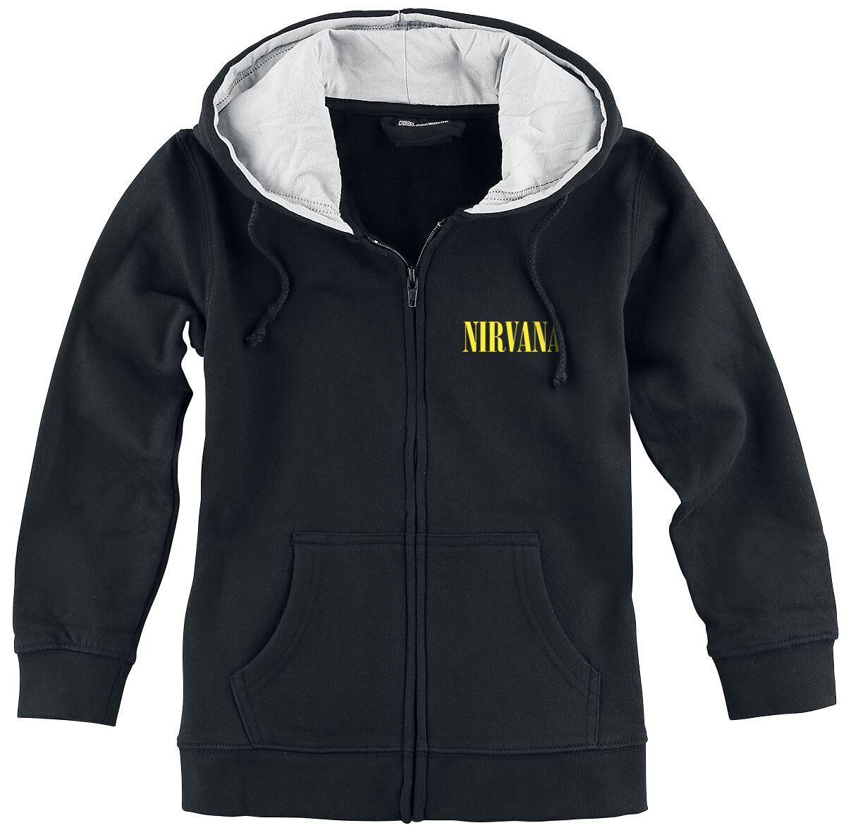 Zespoły - Odzież dziecięca i niemowlęca - Bluza z kapturem dziecięca - rozpinana Nirvana Smiley Bluza z kapturem dziecięca - rozpinana czarny - 354182