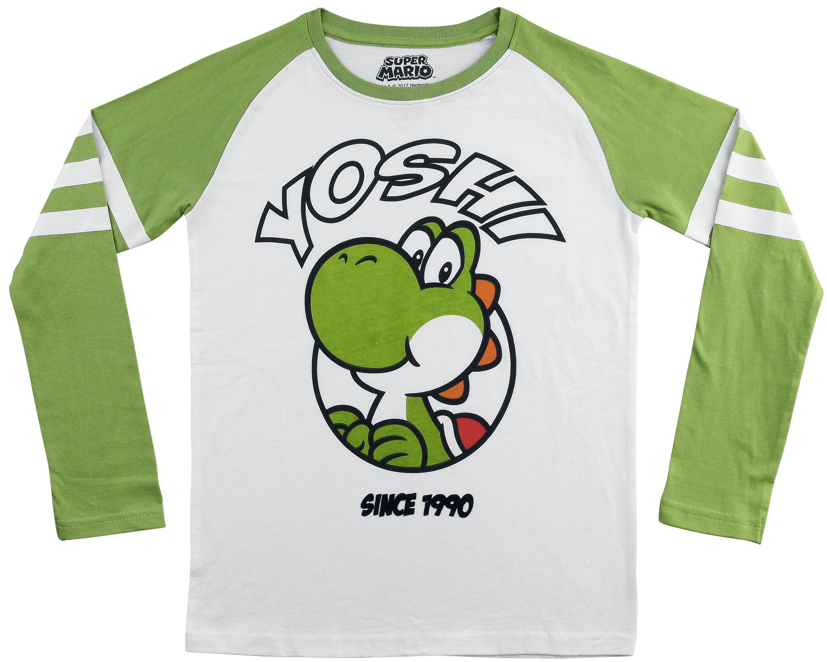 Image of   Super Mario Yoshi Børnelangærmet grøn-hvid