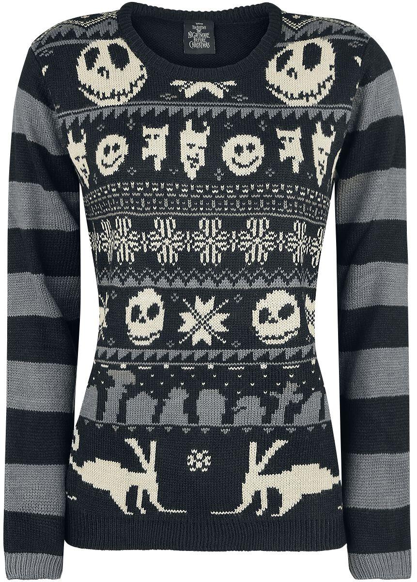 Image of   The Nightmare Before Christmas Knit Stripes Strikketrøje sort-grå