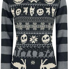 L'Étrange Noël De Monsieur Jack Knit Stripes Pull tricoté noir/gris