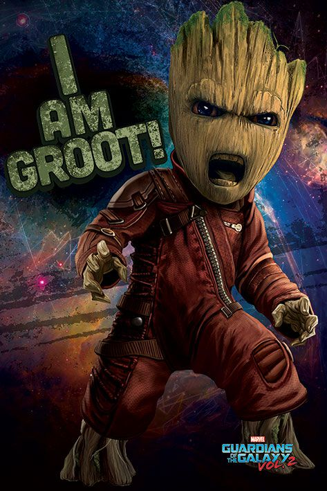 Image of   Guardians Of The Galaxy 2 - Angry Groot Plakat multifarvet