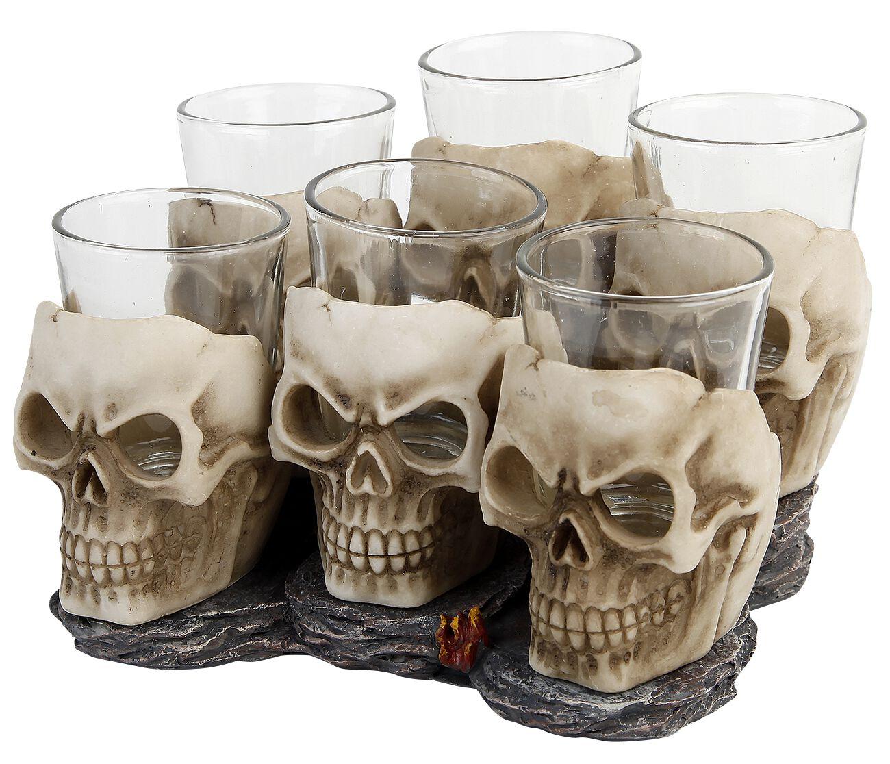 Image of   Nemesis Now Six Shooter Skulls Shotglas, sæt råhvid