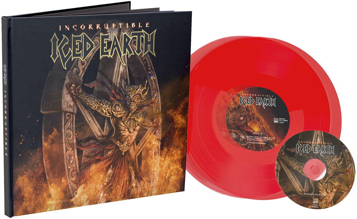 Image of   Iced Earth Incorruptible 2-10 inch & CD rød