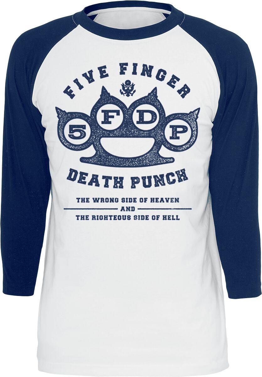 Image of   Five Finger Death Punch Wrong Side Of Heaven Langærmet hvid-blå