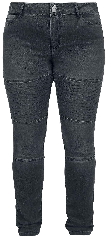 Hosen für Frauen - Junarose Five Slim Grey Biker Jeans Girl Jeans dunkelgrau  - Onlineshop EMP
