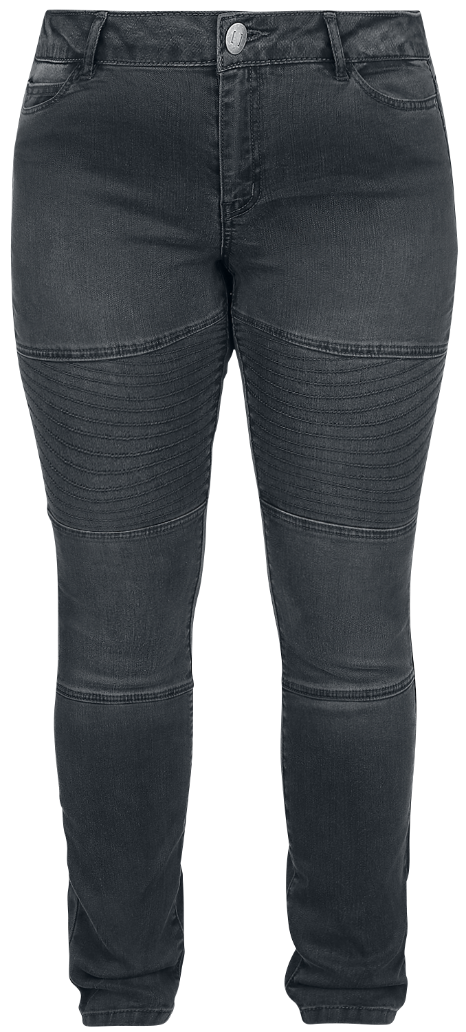 Junarose - Five Slim Grey Biker Jeans - Girls jeans - dark grey