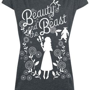 La Belle Et La Bête Silhouette T-shirt Femme gris sombre chiné