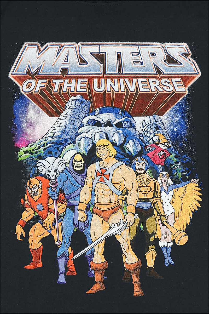 he man and the masters of the universe characters t shirt schwarz ebay. Black Bedroom Furniture Sets. Home Design Ideas