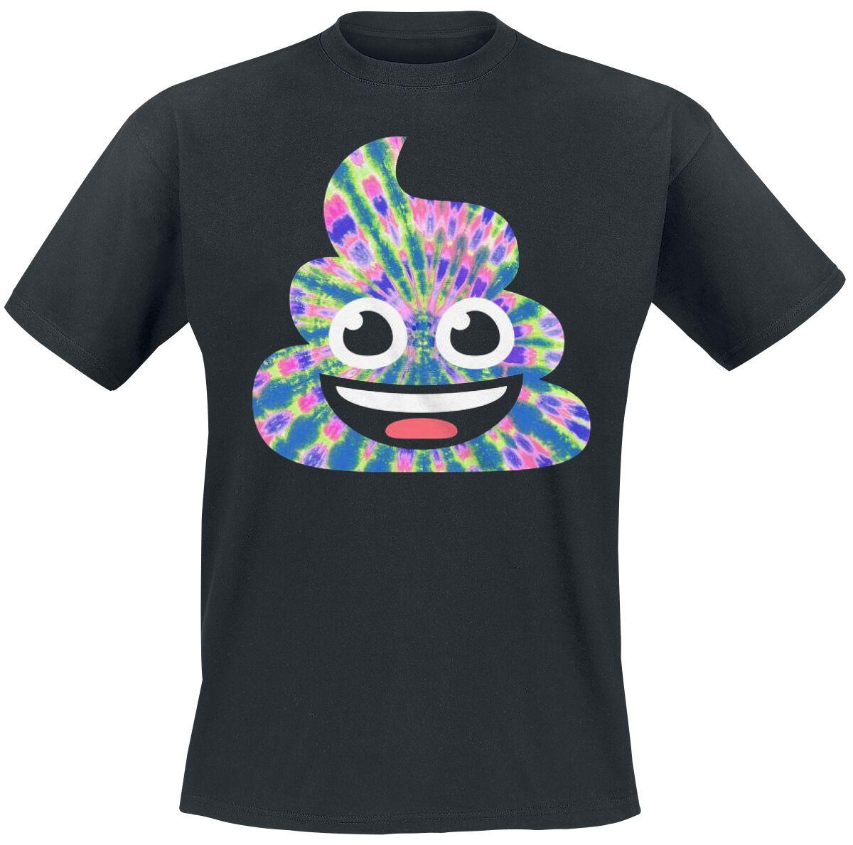 Fun Shirts - Koszulki - T-Shirt Emoji Tye Dye Poo T-Shirt czarny - 356249