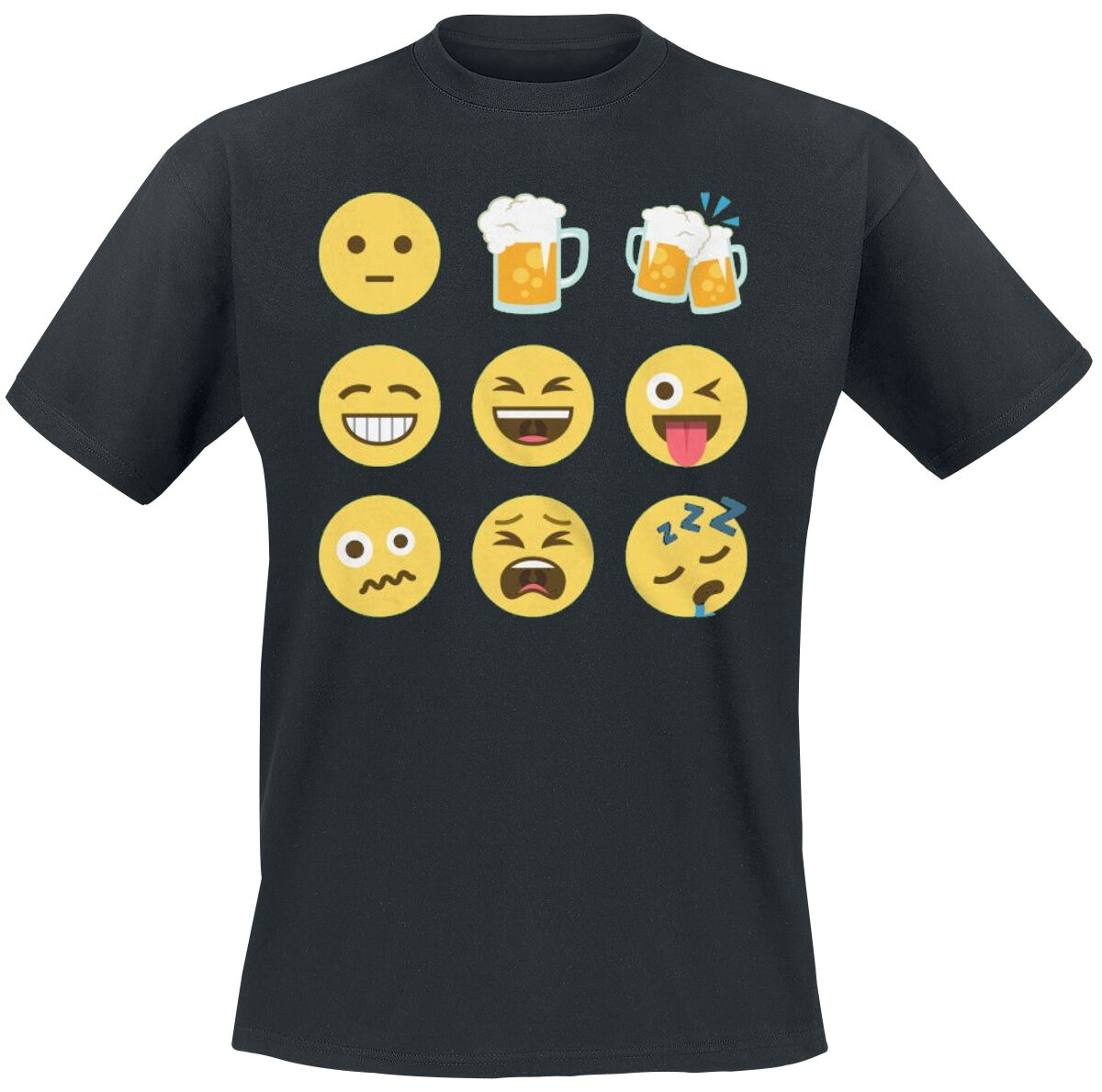 Fun Shirts - Koszulki - T-Shirt Emoji One Faces T-Shirt czarny - 356250