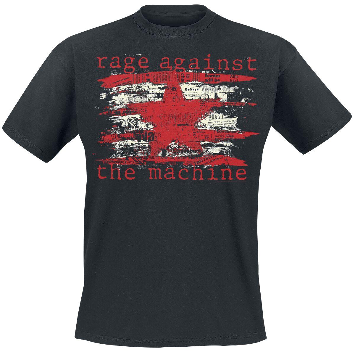 Zespoły - Koszulki - T-Shirt Rage Against The Machine Newspaper Star T-Shirt czarny - 356462