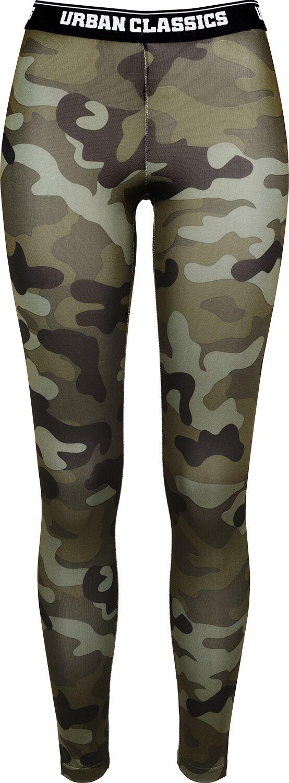 Hosen für Frauen - Urban Classics Ladies Camo Logo Leggings Leggings woodland  - Onlineshop EMP