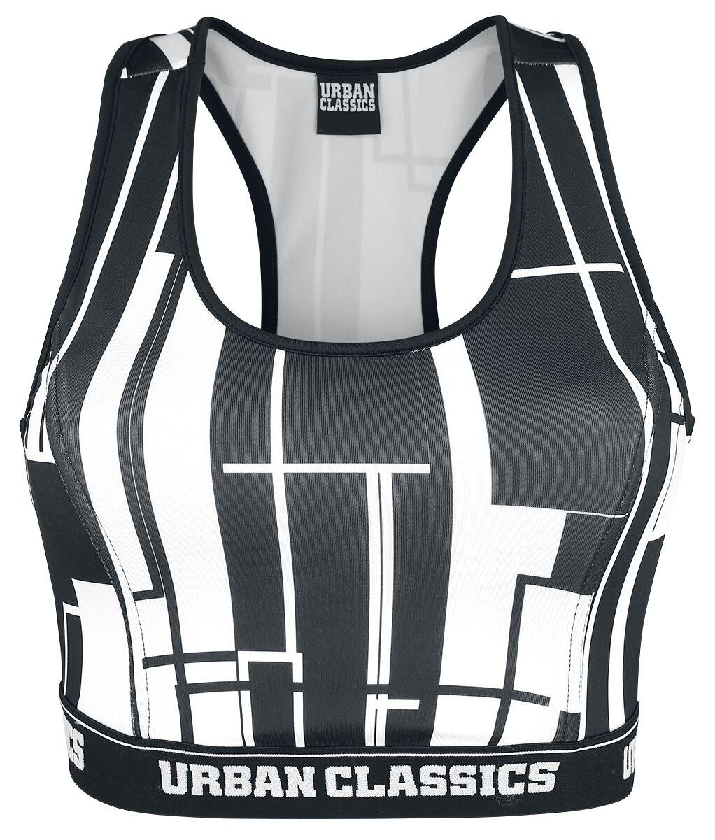 Waesche für Frauen - Urban Classics Ladies Graphic Sports Bra Bustier schwarz weiß  - Onlineshop EMP