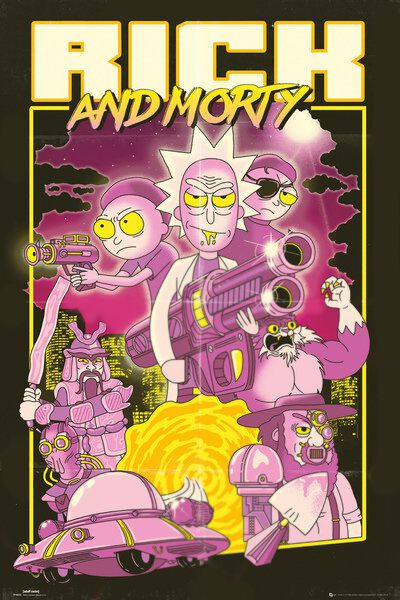 Image of   Rick And Morty Action Movie Plakat multifarvet